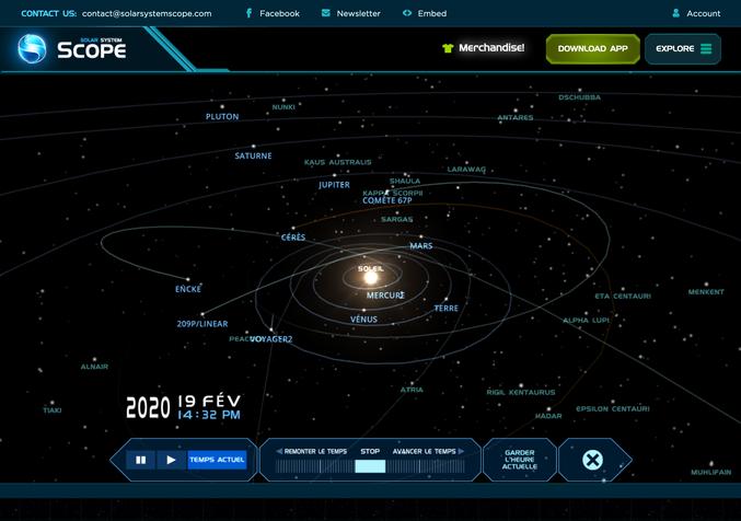 Un peu à la manière de Celestia, je vous propose de vous balader dans notre univers connu à travers l'application On Line Solar System Scope dont voici le lien : https://www.solarsystemscope.com/