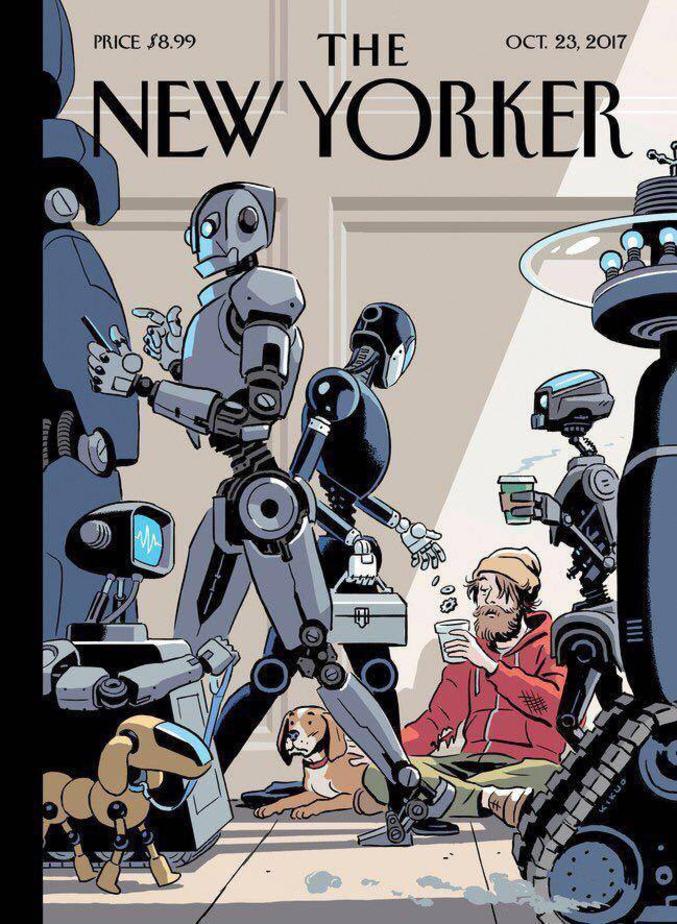 La une du New Yorker cette semaine.Il n'existe pas d'équivalent dans la presse européenne car c'est un magazine propre à son univers nord américain. Pour les amateurs de littératures, de fictions, d'anticipations,d'arts, de visions progressistes de ce coté de l'Atlantique mais aussi et donc très New Yorkais...  https://fr.wikipedia.org/wiki/The_New_Yorker