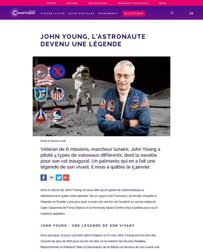 Une légende de l'aéronautique et du spatial dont les records n'égalent que sa capacité à parler de l'espace et à en montrer son importance.