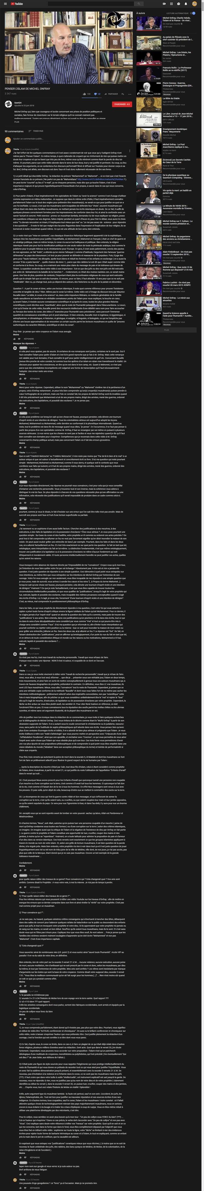 """Slimane Rezki, que je ne connaissais pas avant de consulter sa vidéo sur Youtube, il y a quelques jours, est un """"auteur, chroniqueur, conférencier"""" musulman soufi qui, apparemment, exerce son art sur France Culture. Je l'ai sympathiquement interpellé et questionné d'une part, sur le livre de Michel Onfray """"Penser l'islam"""" et sur ses croyances, sourates et versets à l'appui... Et ça a donné ça... Bon, je vous l'accorde, c'est un peu long mais je n'ai pu m'empêcher d'être précis dans mes assertions. Pour ma part, c'était juste épique ! J'y ai appris qu'en réalité ce qui est écrit dans le coran n'y est pas écrit... NON ! D'après M. Rezki, l'islam n'invite pas aux exécutions, à la lapidation, à la possession d'esclaves ou à la mutilation... et le prophète n'a jamais rien fait de tout ça. Grandiose ! La vidéo ici : https://www.youtube.com/watch?v=rA8dZxOJXbM&lc=z23xz33juwjsufgwo04t1aokgulmi2l1luvn4vkajh3jrk0h00410.1537123051769212"""
