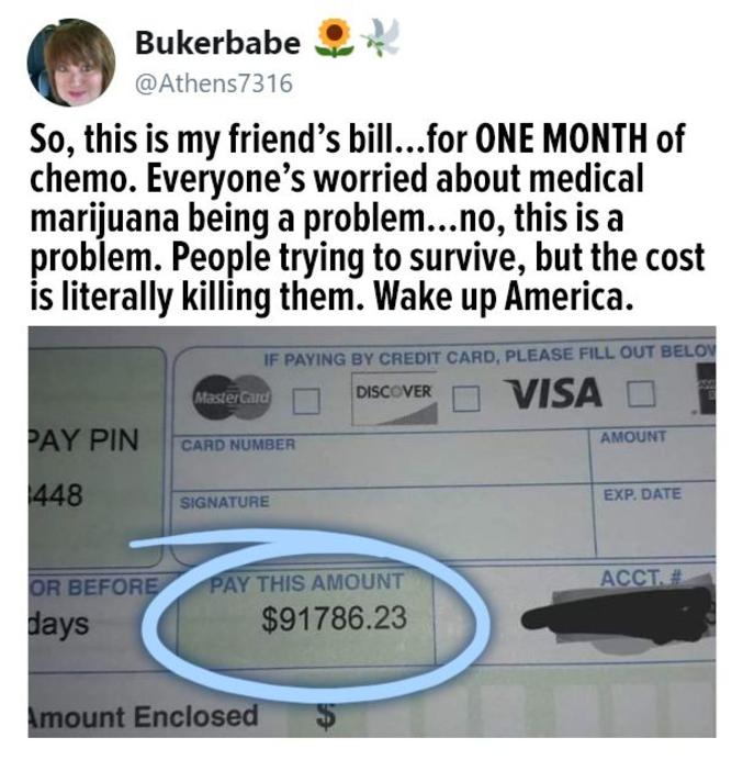 Vive notre Sécu les poteaux ! Aux states, ça peut devenir dramatique, les gens vendent leur maison pour faire face, ou ils prennent des crédits exorbitants...