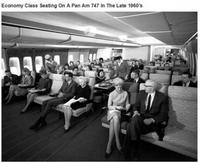 Fin des années 60 : classe économique sur un Boeing 747