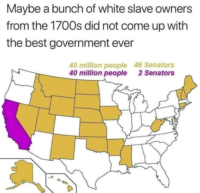 cf le post précédent sur la population : 40 millions de personnes dans les états en jaune vont élire au total 46 sénateurs. 40 millions dans l'état de Californie ne vont élire que 2 sénateurs. Et c'est le même problème pour la présidentielle et le système des grands électeurs: les états ruraux sont sur-représentés. Donc suivant votre lieu de vote votre voix a plus ou moins d'importance, ce pourquoi on pourrait dire que les USA sont une république, mais pas une démocratie comme nous l'entendons en France.
