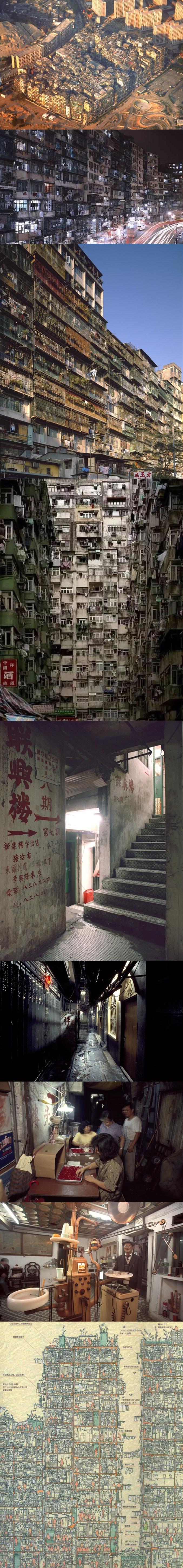 Enclave chinoise au milieu de l'enclave britannique de Hong-Kong, la citadelle de Kowloon fut fondée au milieu du XIXème siècle. Bien qu'un temps paradis des triades, la vie y était relativement paisible. Elle constituait un exemple de cité auto-régulée et auto-suffisante, disposant d'un réseau électrique, de l'eau courante et de services publics : écoles, médecins, distribution du courrier... Ne pouvant s'étendre à l'horizontale, elle se construisit progressivement en hauteur, étage par étage, sans architecte, jusqu'à compter 300 gratte-ciel accolés les uns aux autres. Au milieu des années 1980, avec ses 50 000 âmes, elle détenait le titre de quartier le plus densément peuplé au monde : près de 2 millions d'habitants au km². Avant sa démolition en 1993, des explorateurs japonais mirent une semaine entière pour sillonner le dédale de ruelles plongées dans la pénombre.
