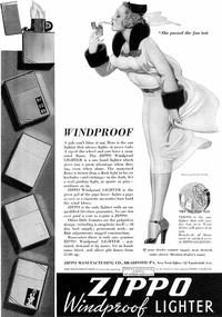 1937 : page de pub pour les briquets Zippo