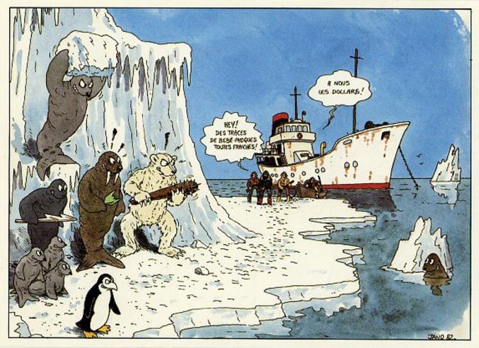 Vieille illustration (1982) de Jano (créateur de Kebra) contre la chasse des bébés phoques.
