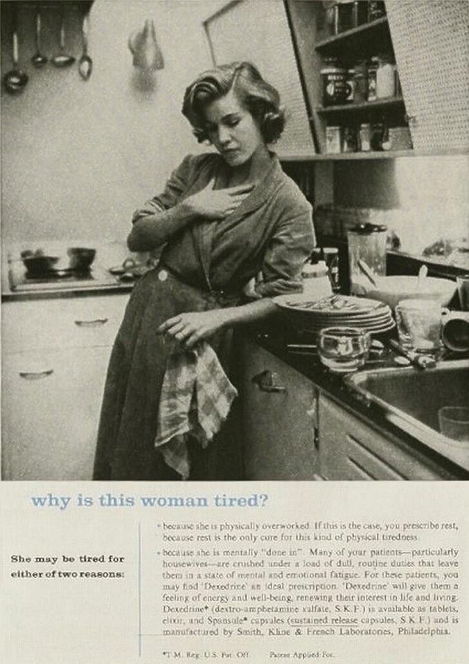 Publicité à destination des médecins : des amphés pour soigner le burn-out de la femme au foyer