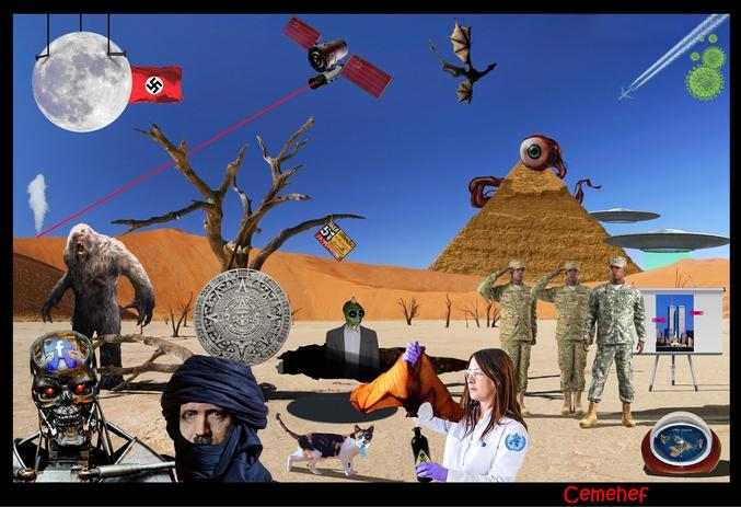Pouvez-vous retrouver les 19 théories du complot sur cette image ?