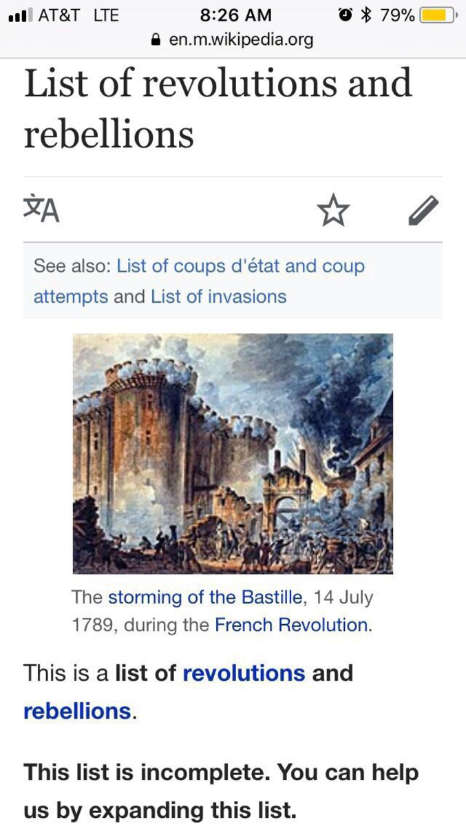 Aidez-nous à allonger la liste des révolutions et rébellions...