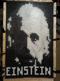 Portrait de Einstein réalisé avec des dés