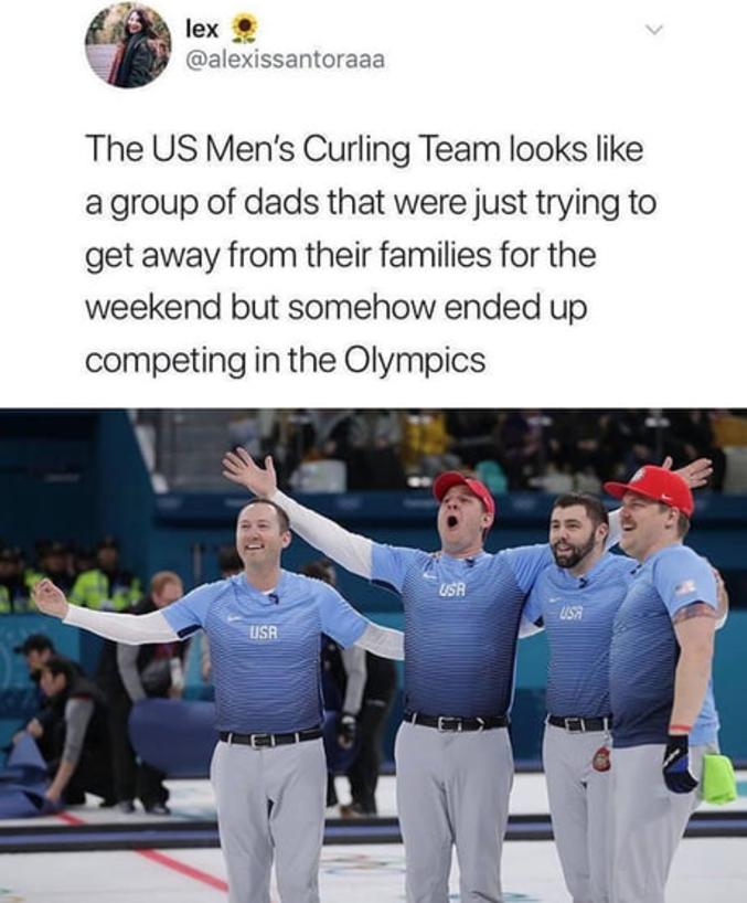 On dirait des papas qui voulaient juste prendre un peu de temps pour eux le WE, et qui sont arrivés un peu par hasard aux JO...