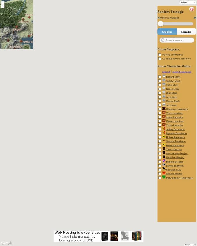 Une carte interactive de l'univers du Trône de Fer. ATTENTION AUX  SPOILS