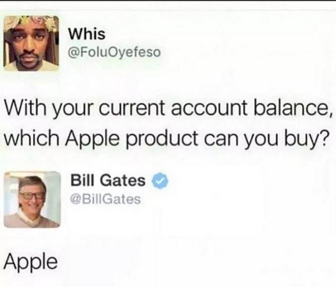 """""""Avec ce que vous avez sur votre compte courant, quel produit Apple pourriez-vous acheter ?"""""""