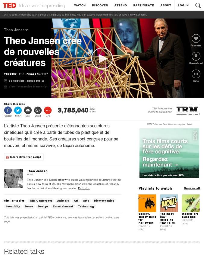 une conférence ted de theo jansen, un artiste qui présente ses sculptures  cinétiques, autonomes et evolutives