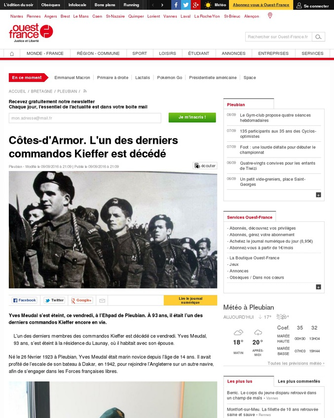 L'un des derniers membres des commandos Kieffer est décédé ce vendredi. Yves Meudal, 93 ans, s'est éteint à la résidence du Launay, où il habitait avec son épouse.  In Memoriam.