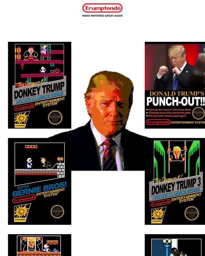 Voilà Trumptendo de l'artiste Jeff Hong qui fait intervenir la politique dans la Nintendo. Vous pouvez donc jouer à Donkey Trump , donkey Trump jr, Donald Trump's PUNCH-OUT, Donald Trump's URBAN CHAMPION ,Super Bernie Bros ou encore ISIS Bomberman!!!  Les jeux sont totalement fidèles aux originaux (musique,level design,gameplay....) donc ça ne m'étonnerait pas que ça disparaisse assez rapidement alors dépêchez vous si vous voulez y jouer!^^