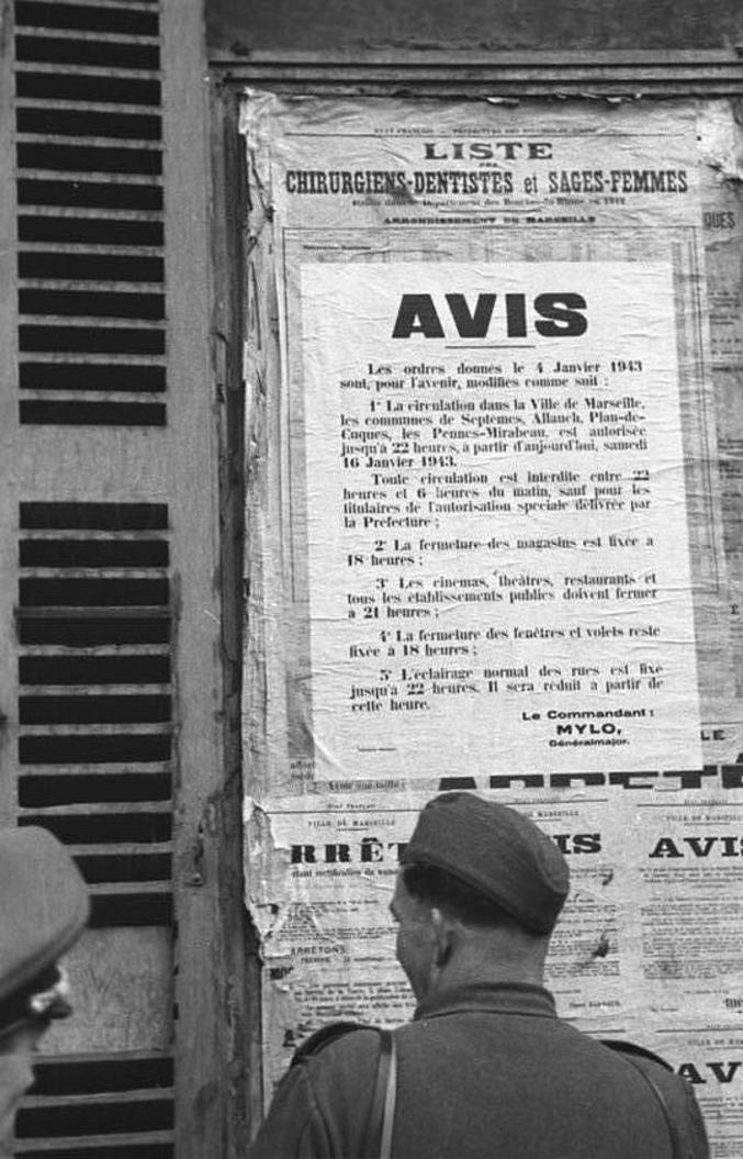 Ce document est authentique. Quelque temps avant les rafles des quartiers anciens du Vieux-Port de Marseille des 22, 23, 24 Janvier 1943, les autorités d'occupation prirent un certain nombre de mesures visant à fixer les populations. Un des responsables de ces contraintes avait pour nom...