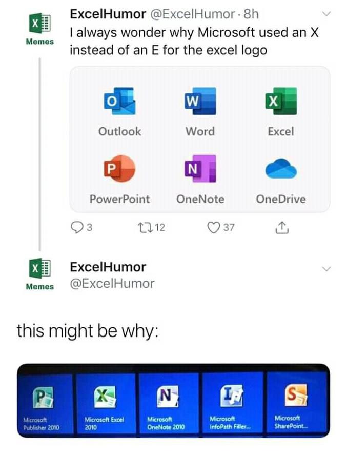 """""""Je me suis toujours demandé pourquoi Micosoft utilisait un X plutôt qu'un E sur le logo Excel"""" """"C""""est peut-être parce que ..."""""""