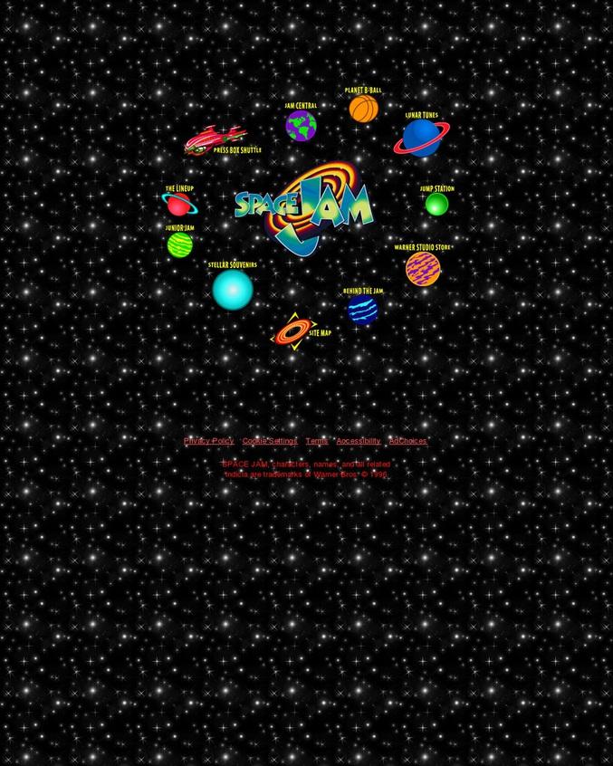 oui, le site officiel du film space-jam n'a pas changé depuis 1996 ! à vos IBM !