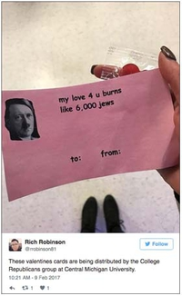 Dérapage pour des cartes de la Saint Valentin dans une université du Michigan