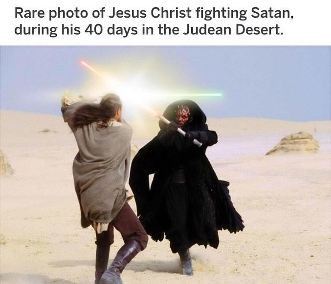 Une photo rare de Jésus Christ combattant Satan, pendant ses 40 jours dans le désert de Judée.