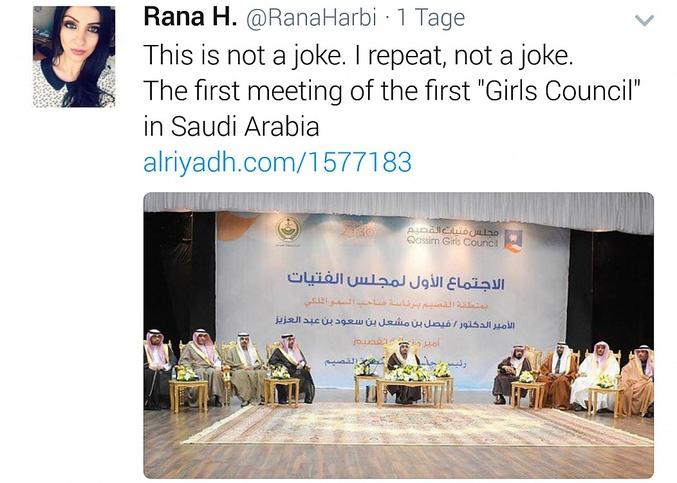 Le premier Conseil des Femmes en Arabie Saoudite. C'est vraiment sérieux.