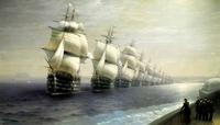 Revue navale russe au XIXème siècle sur la Baltique