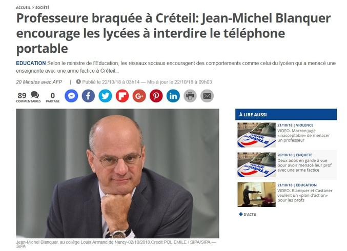 https://www.20minutes.fr/societe/2358175-20181022-professeure-braquee-creteil-jean-michel-blanquer-encourage-lycees-interdire-telephone-portable