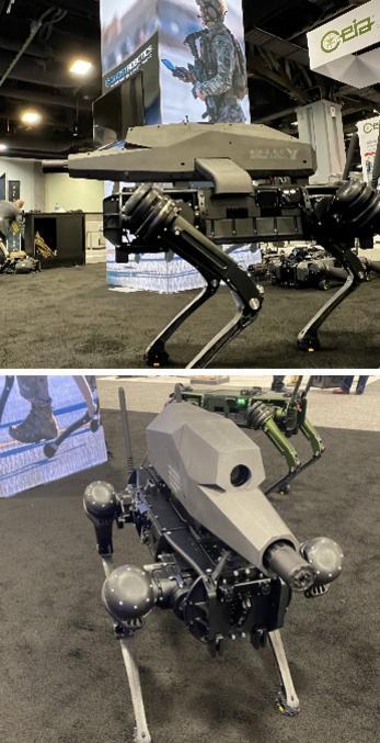Chien robot mitrailleuse de la société au salon AUSA 2021  Le salon AUSA (pour association of the United States Army) rassemble une fois par an les soldats de l'armée de Terre américaine. Ils s'y retrouvent pour participer à différentes conférences, et surtout visiter les nombreux stands d'exposants.