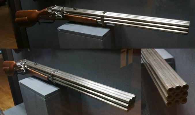 """Un fusil à neuf canons. (la description anglaise disait """"wheellock volley gun"""", si quelqu'un sait à quoi ça correspond)."""