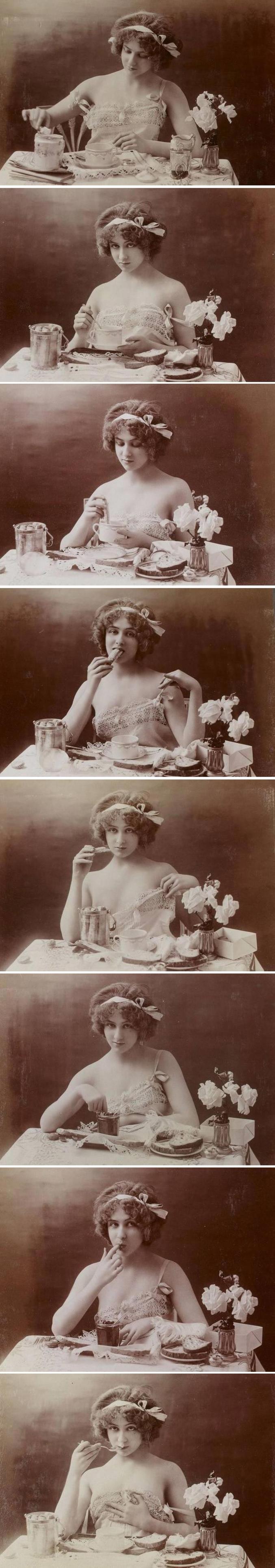 Il y a cent ans, ces photos étaient considérées comme inacceptables, mais aujourd'hui, peu de gens y voient quelque chose d'indécent. À notre époque, nous avons accès à bien plus de chair, notamment dans la publicité.  Ces photographies ont été prises à l'époque édouardienne en Grande-Bretagne, marquée par le règne du roi Édouard VII, 1901-1910.