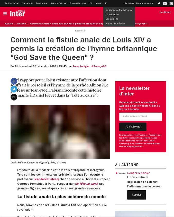 Comment la fistule anale de Louis XIV a permis la création de l'hymne britannique.