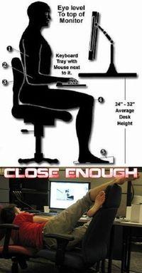 Bien se tenir devant l'ordinateur