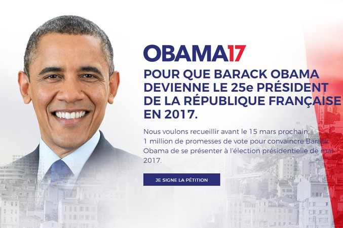 Article tout à fait sérieux à ce qu'il semble: http://www.independent.co.uk/news/world/europe/french-voters-barack-obama-country-france-president-election-marine-le-pen-emmanuel-macron-a7596896.html