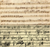 Partition manuscrite de Mozart, puis de Beethoven.