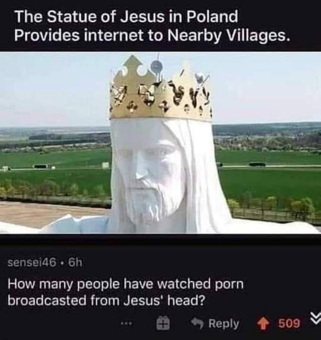 La question est : Combien de gens regardent du porno grâce à la tête du Christ ?