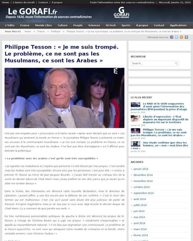 """Article satirique du Gorafi après l'entretien de Philippe Tesson chez Morandini où il déclarait, entre autres : """"C'est pas les musulmans qui amènent la merde en France aujourd'hui ? Il faut le dire quoi !"""""""