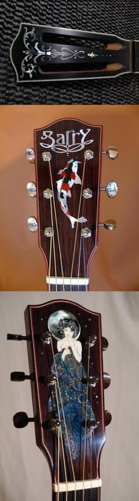 Têtes de guitares décorées d'incrustations de nacre