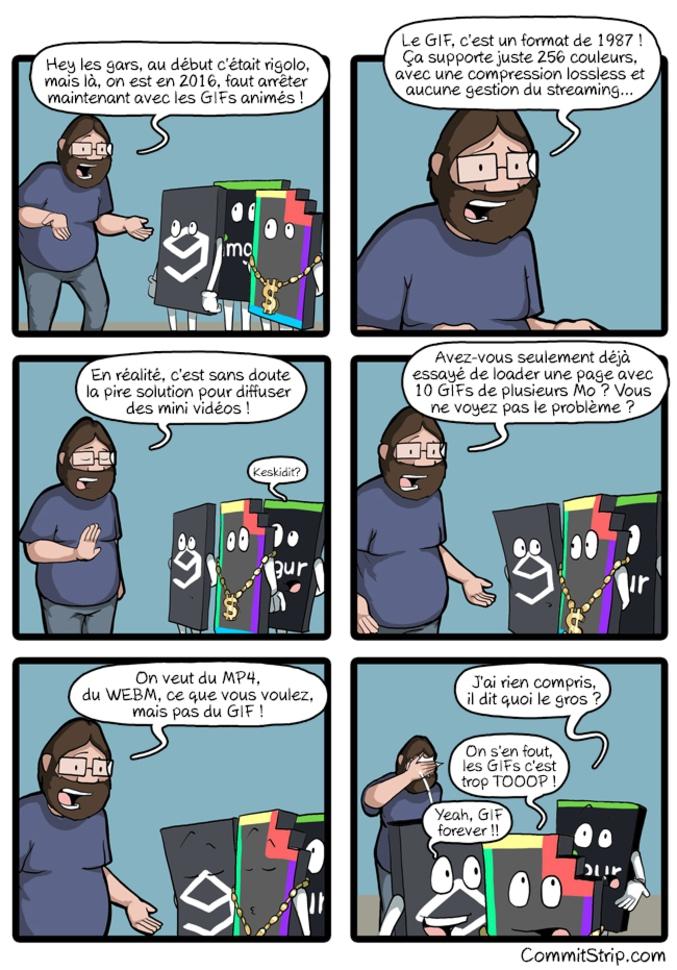 Et vive les webM !!! (par commitStrip http://www.commitstrip.com/ )