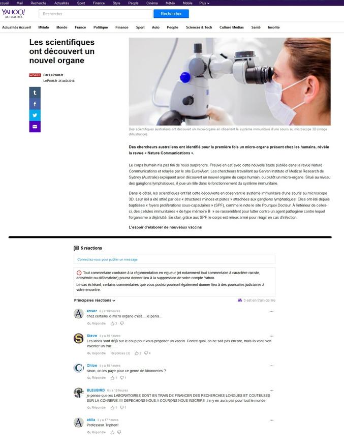 ...en même temps vu le niveau des commentaires, on se demande pourquoi des scientifiques se donnent autant mal pour l'humanité. Source : https://fr.news.yahoo.com/scientifiques-d%C3%A9couvert-nouvel-organe-145500150.html