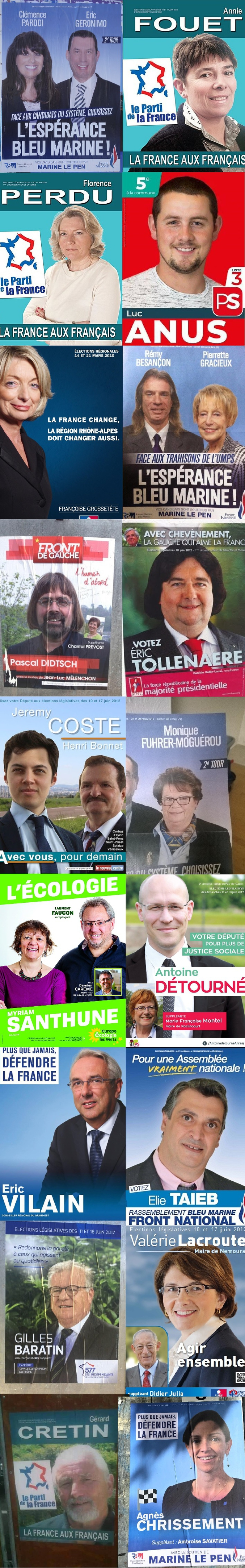 Quelques affiches électorales à base de noms improbables et de gueules pas possibles.
