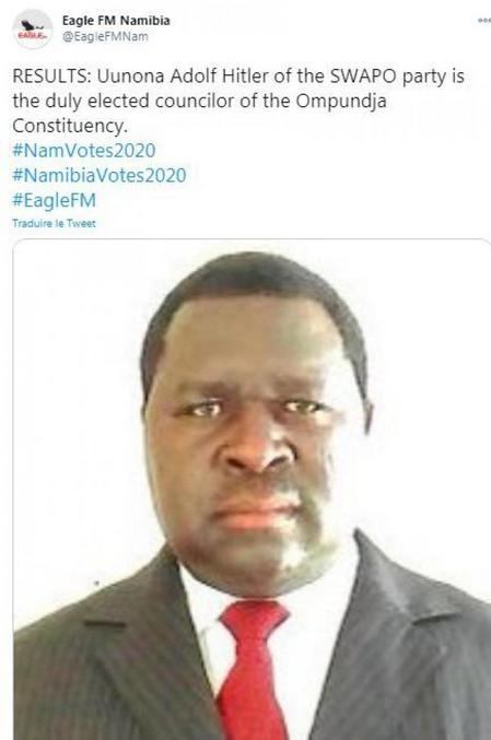 Et élu avec une belle majorité des voix en Namibie!
