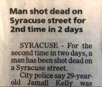 Un homme abattu mortellement dans Syracuse street pour la 2ème fois en 2 jours