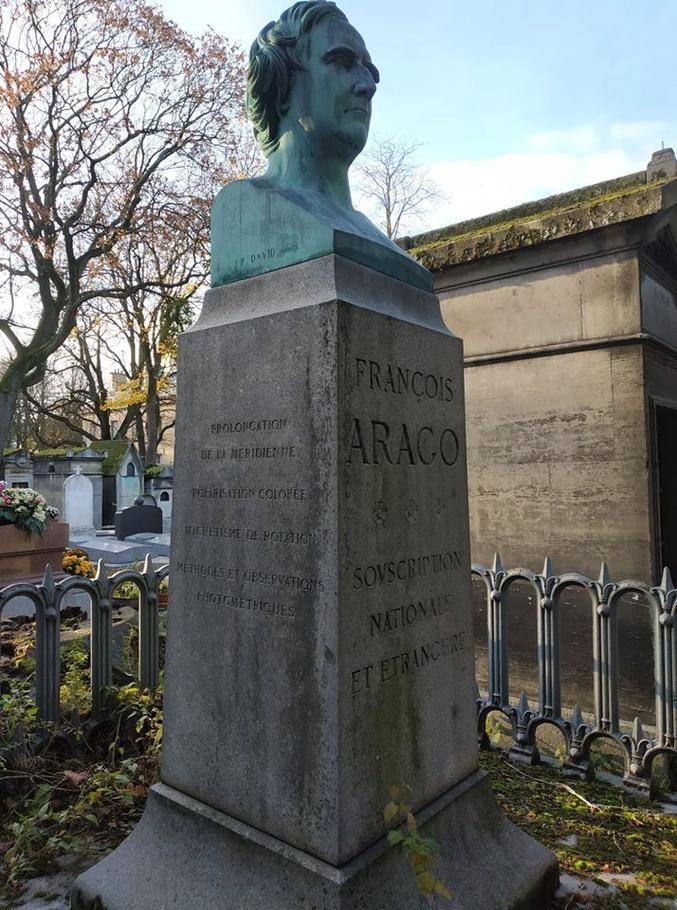 """François Arago. Né à Estagel le 26 Février 1786 , il était un astronome et physicien Français.  Sa vie, marquée d'une part par une activité politique qui le mènera à un poste équivalent de notre actuel premier ministre et d'autre part orientée vers les sciences, aura posé des bases de notre science moderne.  On notera entre autre """"L'expérience d'Arago"""" en 1810. Une expérience de mesure de vitesse de la lumière. Cette expérience ouvre la voie à la future théorie de la relativité.  Orateur habile et pédagogue, il pratiquera la """"vulgarisation scientifique"""" en décrivant son projet ainsi:  """"Je maintiens qu'il est possible d'exposer utilement l'astronomie, sans l'amoindrir, j'ai presque dit sans la dégrader, de manière à rendre ses plus hautes conceptions accessibles aux personnes presque étrangères aux mathématiques. """"  Statues, places, astéroïdes... aujourd'hui encore, de nombreux hommages lui sont rendus.  Il repose au cimetière du Père Lachaise à Paris."""