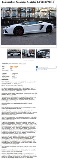 Avec un Lamborghini il faut le salaire qui suit