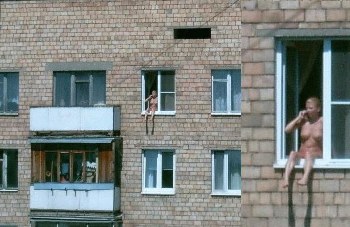 Nue sur le balcon de mon hotel au centre de madrid 8