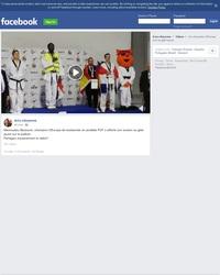Mamoudou Bassoum, champion d'Europe de taekwondo a affiché son soutien au gilet jaune sur le podium