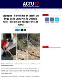 Il se filme en jetant un frigo dans un ravin, la Guardia Civil l'oblige à le récupérer et le filme