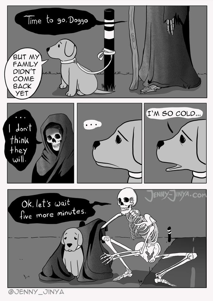 """Artiste: Jenny-Jinya  -""""il est temps d'y aller, petit chien"""" -""""mais ma famille n'est pas encore revenue"""" -""""...je ne pense pas qu'elle va revenir"""" -""""..."""" -""""J'ai tellement froid..."""" -""""d'accord, attendons encore 5 minutes""""   *toutes mes plus plates et sincères excuses pour ce plombage d'ambiance! Moi je vais aller faire un câlin à mon chien!"""""""