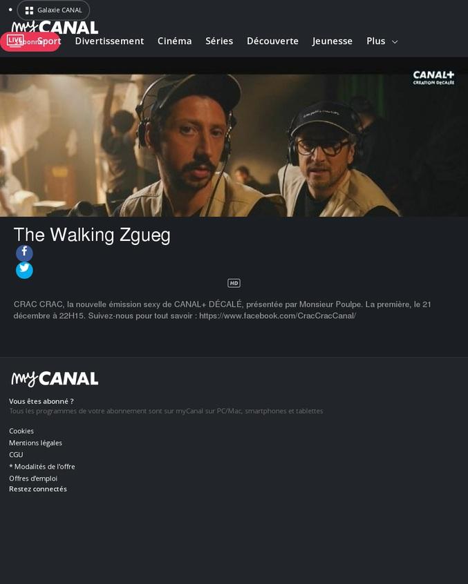 CRAC CRAC, la nouvelle émission sexy de CANAL+ DÉCALÉ, présentée par Monsieur Poulpe. La première, le 21 décembre à 22H15  Oui je ne me suis pas fait chier pour la description, et j'ai mis une croix noire au cas où...